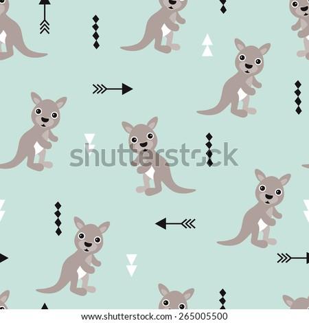 Seamless kids kangaroo illustration geometric arrows australian background pattern in vector - stock vector