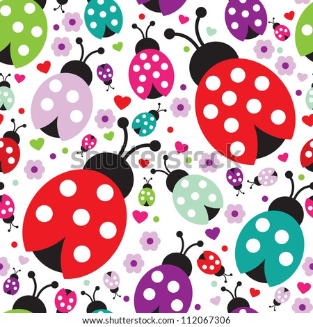 seamless kids lady bug polka dot illustration background pattern in vector