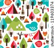 Seamless kids nature camping trip and wild animals background pattern in vector - stock vector