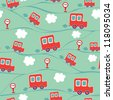 Seamless kids pattern with cars. Vector illustration. - stock vector
