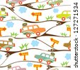 Seamless kids pattern with safari cars. Vector illustration - stock photo