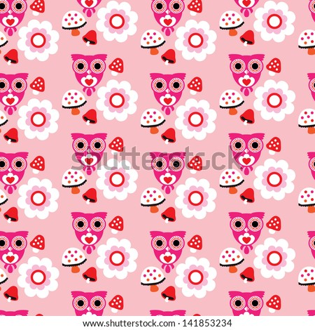 Seamless kids pink pastel owl illustration and autumn elements background pattern in vector - stock vector