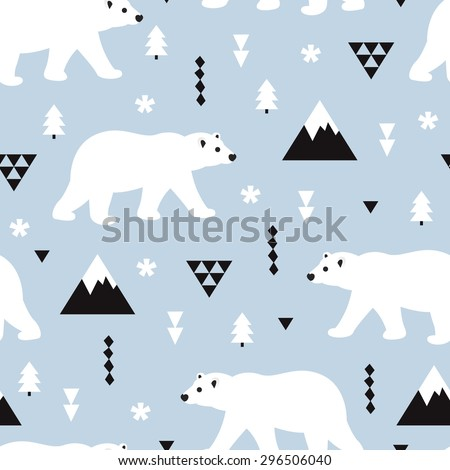 Seamless kids polar bear and geometric mountain arctic winter christmas wonderland illustration pattern in ice blue background in vector - stock vector