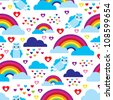 Seamless kids rainbow angel heart dream background pattern in vector - stock