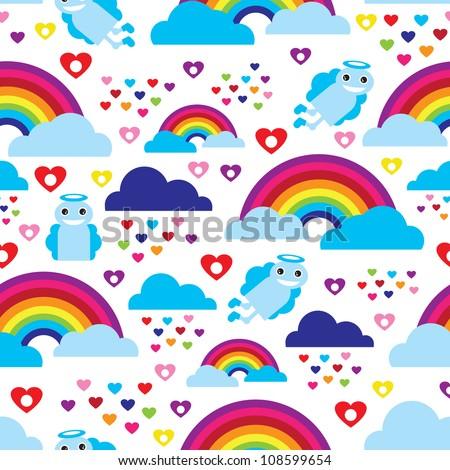 Seamless kids rainbow angel heart dream background pattern in vector - stock vector