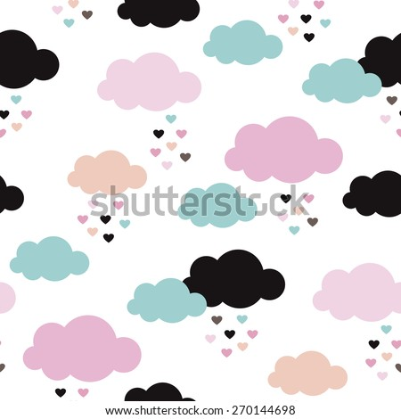 Seamless kids raining love clouds sweet colorful sky illustration abstract background pattern in vector - stock vector