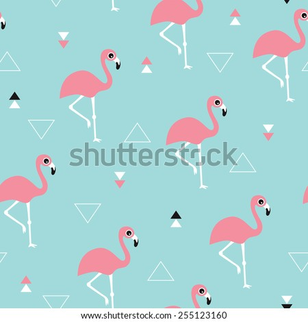 Seamless kids soft pastel blue ocean and pink summer flamingo and geometric details background pattern in vector - stock vector