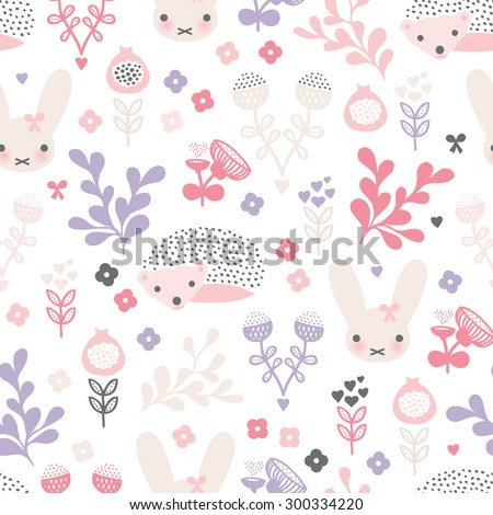 Seamless kids soft pastel hedgehog and rabbit spring blossom flowers illustration background pattern in vector - stock vector