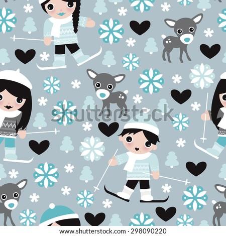 Seamless kids winter wonderland ski slope snow flakes and reindeer christmas theme illustration background pattern in vector - stock vector