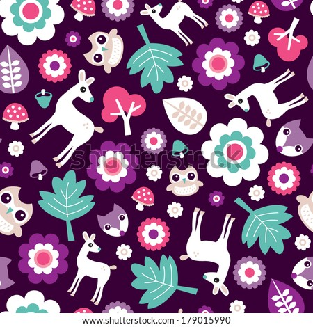 Seamless kids woodland for girls forest animals illustration background pattern with fox owl and deer in vector - stock vector