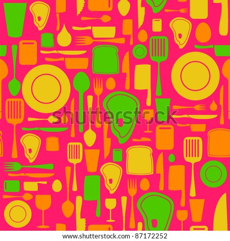 Seamless kitchen and cooking repeat pattern - 2