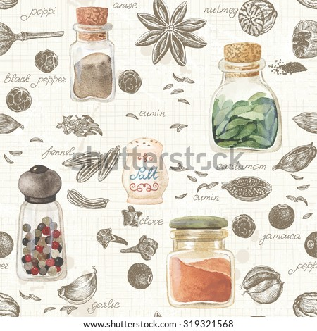 stock vector seamless kitchen background of hand drawn and watercolor spices vector illustration in vintage 319321568 - Каталог — Фотообои «Еда, фрукты, для кухни»