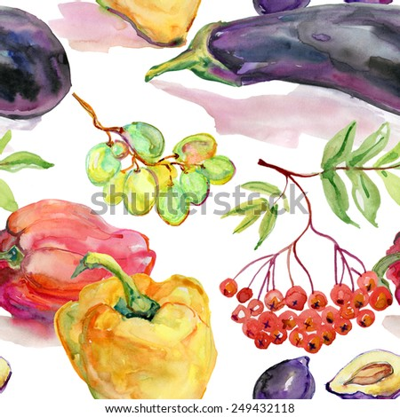 Seamless kitchen background of vegetables, vector illustration - stock vector