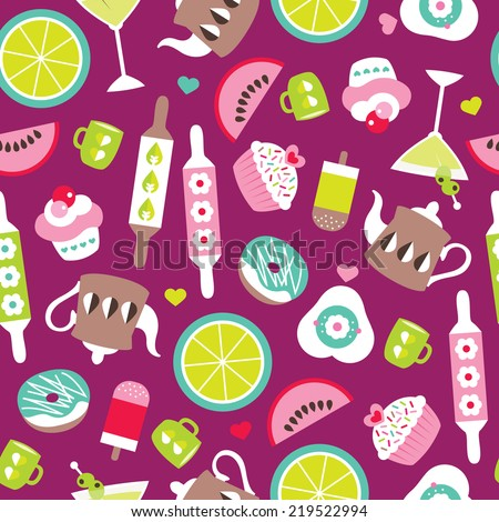Seamless kitchen cooking and sweet cupcake donut bakery illustration background pattern in vector - stock vector
