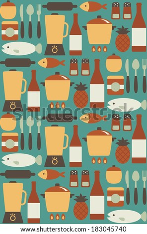 seamless kitchen pattern design. vector illustration