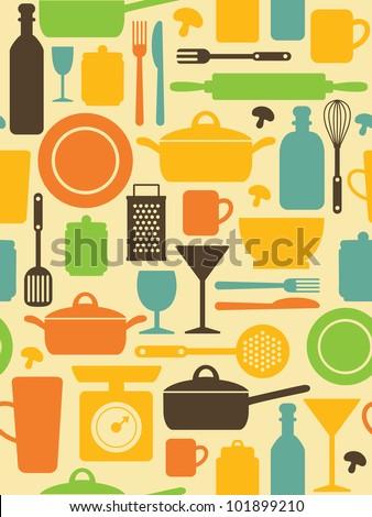 seamless kitchen pattern. vector illustration - stock vector