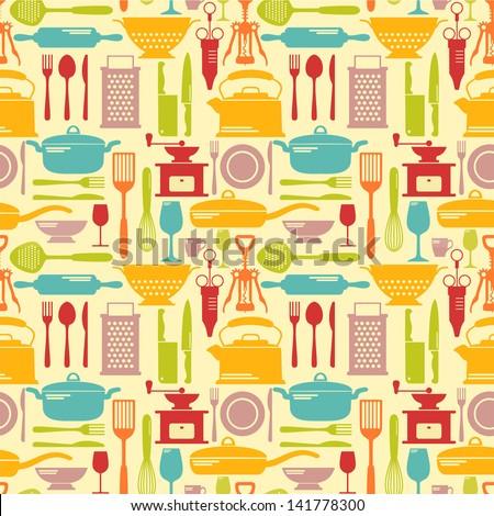 Seamless kitchen vector background - stock vector