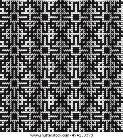 seamless knitted black - white pattern