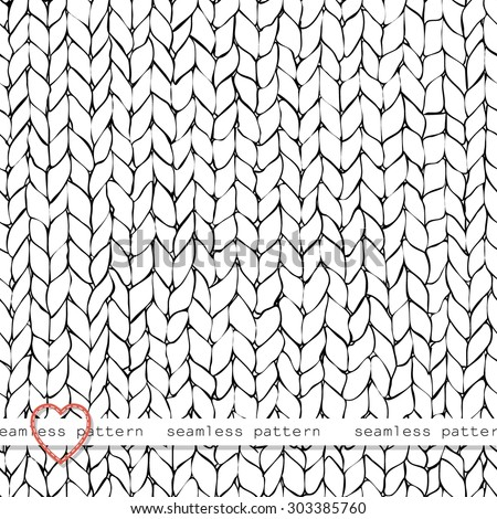 Seamless knitted hand drawn background . Neutral winter texture. Vector illustration. - stock vector