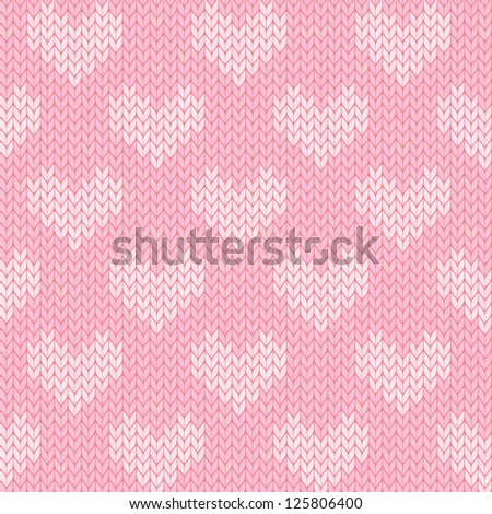 seamless knitted heart background - stock vector