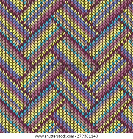 Seamless knitted pattern. Multicolored repeating tribal template