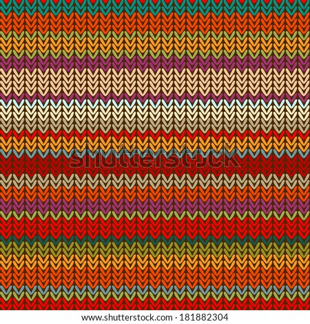 Seamless knitted pattern of colorful bright stripes.Vector.