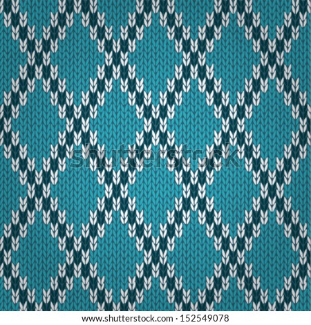 Seamless Knitted Pattern. Style Knit woolen jacquard ornament texture. Fabric color tracery background  - stock vector