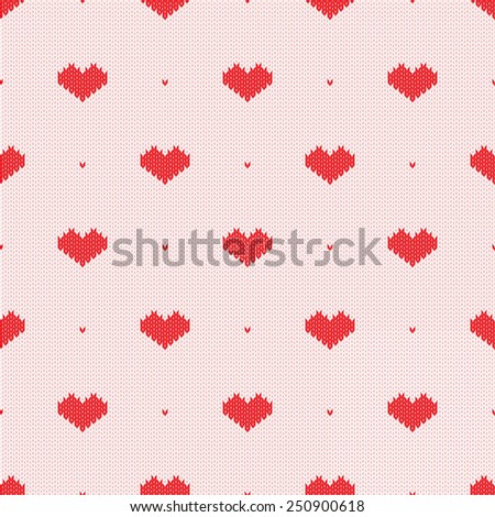 Seamless knitted pattern with hearts. Vector illustration Eps8. - stock vector