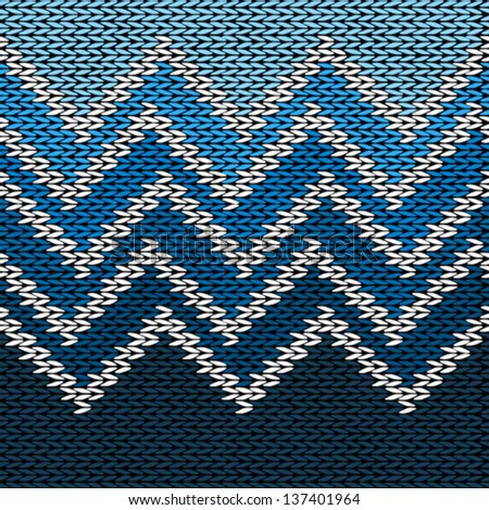 Seamless Knitted Stylized Geometric Pattern with Wave - stock vector