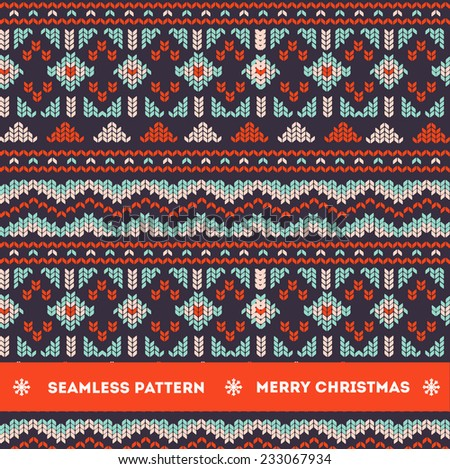 Seamless knitting pattern  - stock vector