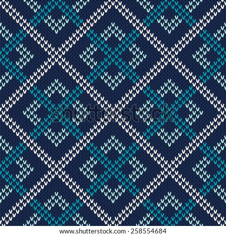 Seamless Knitting Pattern. Knitted Sweater Design - stock vector