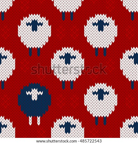 Seamless Knitting Pattern Blue White Sheep Stock Vector Royalty