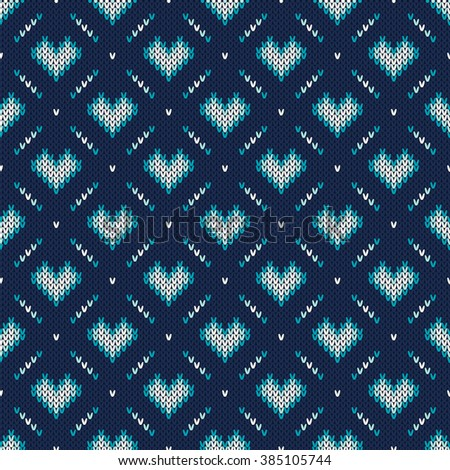 Seamless Knitting Pattern with Hearts - stock vector