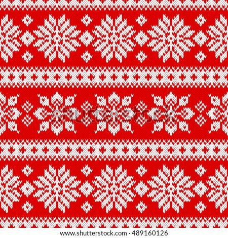Seamless Knitting Pattern Snowflakes Scandinavian Style Stock Vector