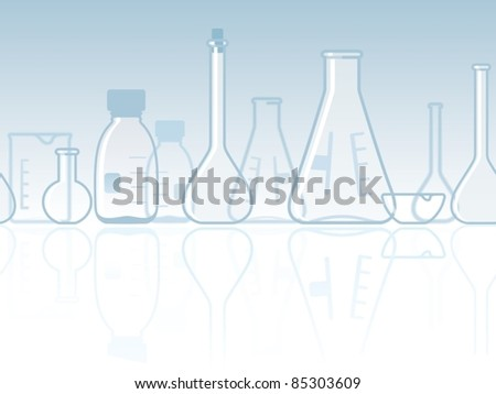 Seamless laboratory chemical banner - stock vector