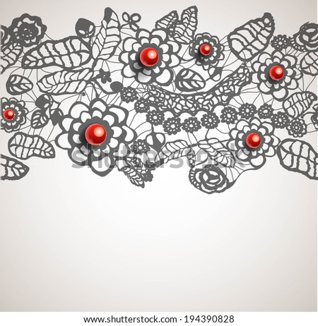 seamless lace ornament with red beads. Vector illustration - stock vector