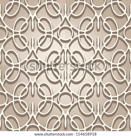 Seamless lace pattern, beige vector ornament - stock vector