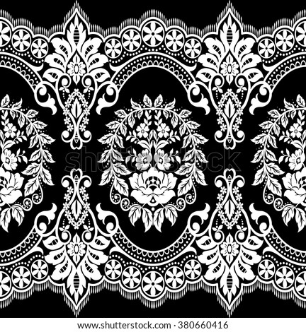 Seamless lace pattern flower vintage vector stock vector for Border lace glam