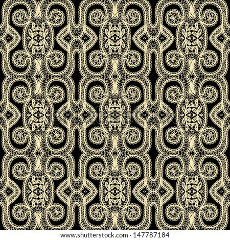 Seamless lace pattern gold and black