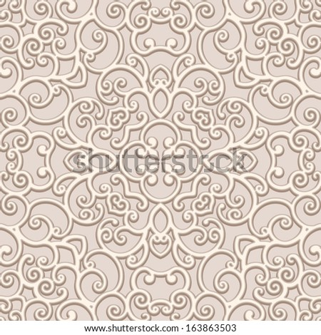 Seamless lace pattern, ornamental beige vector background