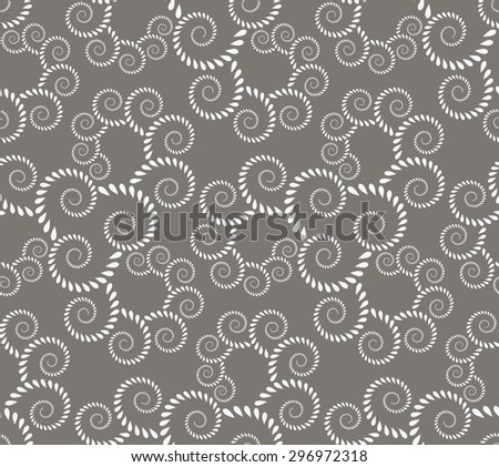 Seamless lace pattern. Vintage, curled texture. Spiral, twirl silhouettes with laurel leaves. Floral theme. Twist ornament. Light gray figure on dark gray background. Vector  - stock vector