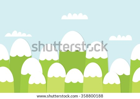 Seamless landscape with mountains - stock vector