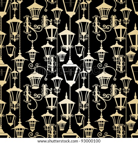 Seamless lantern pattern - stock vector