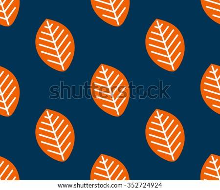Seamless leaf vector pattern. seasonal background - stock vector