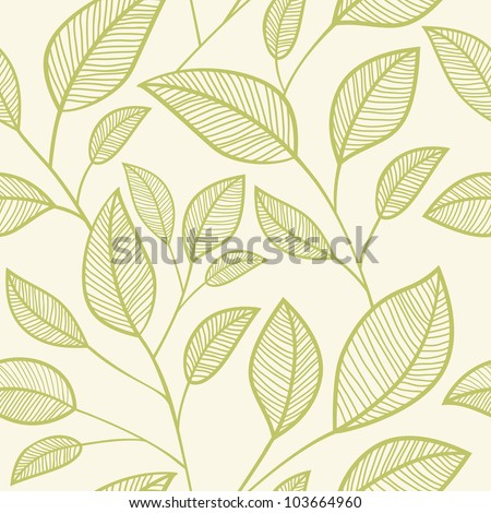 Seamless leaves background - stock vector