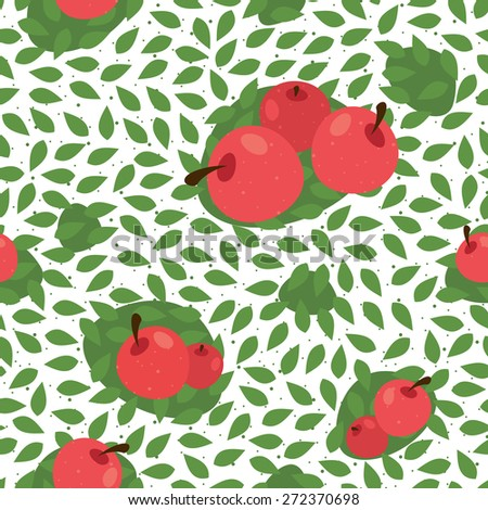 Seamless leaves pattern background with fruits. Great for textile or web page background. Vector illustration - stock vector