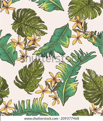 seamless leaves print pattern background - stock vector