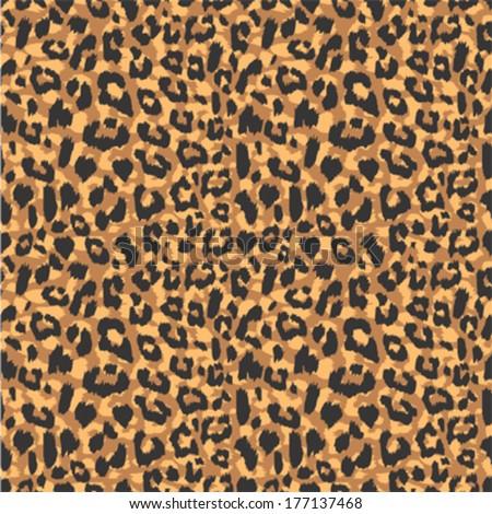 Seamless leopard fur pattern - stock vector