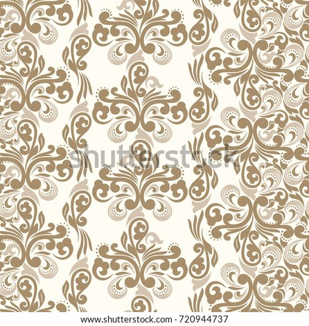 Seamless light background with shades of brown pattern in baroque style. Vector retro illustration. Ideal for printing on fabric or paper.