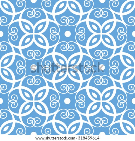 Seamless light blue and white damask pattern